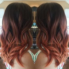 Rose gold ombre - Colored with Matrix, styled with Kerastase. Heather @ Panopoulos Salon in South Holland, MI.