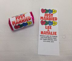 100 x Personalised Just Married Mini Love Heart Sweets Wedding Favours, Handmade on Etsy, £30.00
