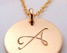 Rose Gold Letter Necklace Rose Gold Initial Charm by ERiaDesigns