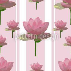Rosa Lotusblumen Auf Patroullie - Rosarote Lotusblumen-Ornamente zieren gestreiften Hintergrund.