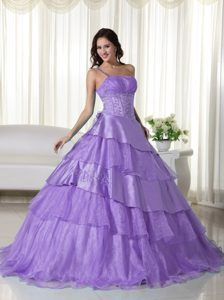 Lavender One Shoulder Organza Beaded Quinceanera Dress with Layers on Sale