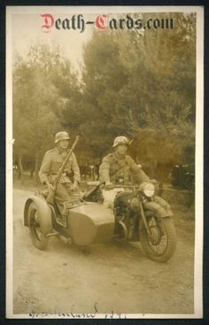 orig. WWII Photo - Motorcycle with sidecar - Luftwaffe Unit - Greece 1941