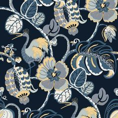 Tropical Fete Self Adhesive Wallpaper in Azure Blue by Genevieve Gorder for Tempaper