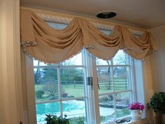 Easy DIY Window Valance with Beaded Trim.
