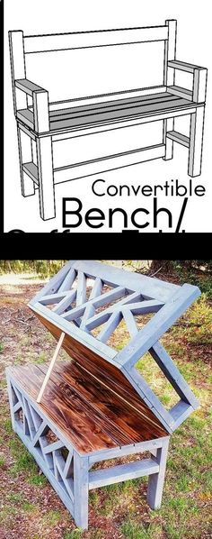 Plans of Woodworking Diy Projects - HOW TO: Build a DIY Bench Coffee Table convertible ana white Get A Lifetime Of Project Ideas & Inspiration! #woodworkdiy #woodworkingdiy