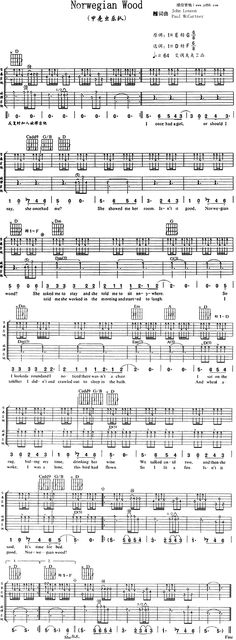 Norwegian Wood by The Beatles Guitar Sheet Music Free - Free Guitar Sheet Music, Tabs, Chords, Lyrics, Scores