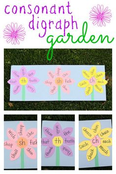 Teach your child to recognize and read consonant digraphs /th/, /sh/, and /ch/ with a digraph garden! garden abc Consonant Digraph Garden - I Can Teach My Child! Phonics Reading, Teaching Phonics, Phonics Activities, Kindergarten Literacy, Teaching Reading, Classroom Activities, Music Classroom, Garden Theme Classroom, Phonics Centers