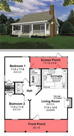 Small house Cool House plan 26434 2 bdrm 1 bath fireplace screened porch But only tw Small house Cool House plan 26434 2 bdrm 1 bath fireplace screened porch But only tw Anna Schweidler nbsp hellip Building A Small House, Small House Floor Plans, Cabin House Plans, Cabin Floor Plans, Tiny House Cabin, Best House Plans, Dream House Plans, Tiny House Design, House Porch