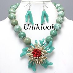Art Deco TURQUOISE Coral Reef Flower Ball Beads Acrylic Bib Necklace Earring Set $22.99