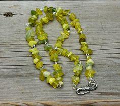 Men's Lemon Jade Chip Stone Necklace   Sunshine Yellow
