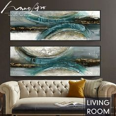 Hand-painted canvas prints oil painting abstract modern blue-green for living room wall art cuadros modernos home decor Gray Painted Furniture, Art Furniture, Oil Painting Abstract, Painting Walls, Blue Painting, Decorating With Pictures, Decoration Pictures, Canvas Wall Art, Painted Canvas