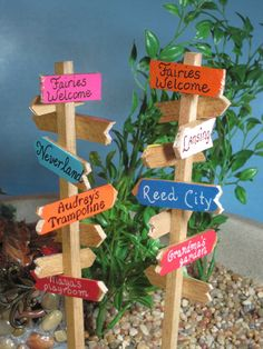 Signpost for Fairy Gardens OOAK handmade by WeeBrigadoon on Etsy