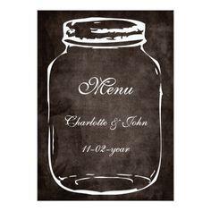 Shop rustic mason jar brown wedding menu created by blessedwedding. Shabby Chic Wedding Invitations, Mason Jar Wedding Invitations, Wedding Menu Cards, Rustic Mason Jars, Smudging, Paper Texture, Brown, Prints, Wedding Ideas