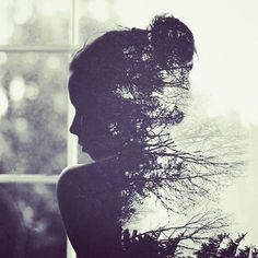 The silhouette of the girl fading into the forest is a great use of Photoshop. The message of the picture may not be clear to everyone, but the design is very well done. The contrast between black and white is always a nice aspect to incorporate. Photomontage, Creative Photography, Portrait Photography, Photography Ideas, Urban Photography, Color Photography, Double Exposure Photography, Multiple Exposure, Montage Photo
