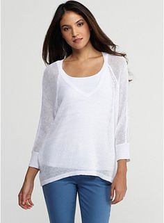 Rounded-V Top with 3/4 Sleeves in Fine Gauge Linen Mesh