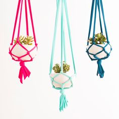 Our Macrame Hanging Planter Kit includes all the materials you need to make one springy macrame planter that is sure to add something lighter, brighter, and alive to your home decor! This project is one of many that are illustrated in our book, Homemakers, due to release this March!