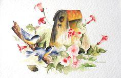 Певчие, Bird Акварельные, Art Card, Скворечник печати, Accent декора, розовые цветы, желтый, серый,