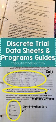 I'm sharing my 3 sets of Discrete Trial Data Sheets & Programs Guides resources on the blog! Program guides are essential, so let's go through them together!  From the autismhelper.com #theautismhelper