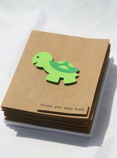 Baby Shower Thank You Cards - Baby Boy Thank You Cards - Baby Girl Thank You Cards - Kraft Thank you cards - Turtle Thank You Cards - 50