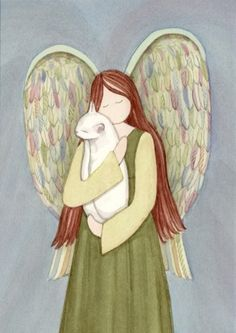White Cat in Angel's Arms