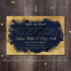 Navy Blue and Gold Wedding Save the Date, Constellation Wedding Save the Date, Star and Moon Wedding Save the Date, Starry Night Wedding Save the Date, Celestial Galaxy Save the Date by Soumya's Invitations Galaxy Wedding, Moon Wedding, Star Wedding, Trendy Wedding, Celestial Wedding, Midnight Wedding, Gold Save The Dates, Wedding Save The Dates, Starry Night Wedding