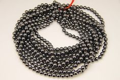 1strand  natural hematite plain ball 8mm by 3yes on Etsy