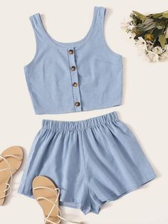 Shein Striped Button Front Tank Top With Shorts Outfits For Teens, Summer Outfits, Tank Top Skirt, Satin Cami Top, Striped Crop Top, Two Piece Outfit, Clothing Co, Plus Size Dresses, Fashion News