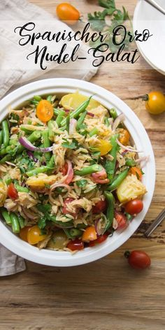 Spanischer Orzo Nudel-Salat Orzo, Pasta Salat, Thai Red Curry, Noodles, Beans, Potatoes, Salad, Chicken, Ethnic Recipes