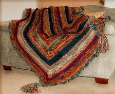 """My """"Angles Throw"""" made from Colinette Yarn"""