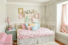 This room was dark and dingy when we moved in. The brown walls were not helping out this already small room. It needed to be fit for a princess, our little pr… Girls Bedroom, Dream Bedroom, Bedroom Decor, Bedroom Ideas, Teen Bedrooms, Pastel Room, Daughters Room, Brown Walls, Paint Colors For Home