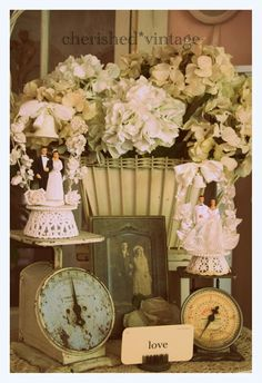 Vintage wedding cake toppers:)