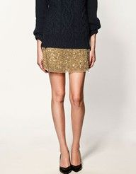 sequined skirt, simple sweater and heels. -LOVE!!! Now I can wear my sequin skirt a little dresses down :)