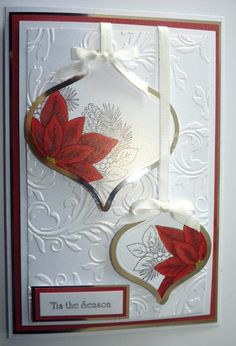 Pretty ornament card - silver with colored stamped image on top