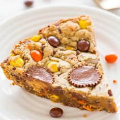 Loaded Peanut Butter Cookie Pie - PB butter used 3 ways: Dough, PB cups & Reese's Pieces! Easy, no mixer, super soft, chewy!