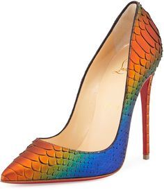 Christian Louboutin So Kate Python 120mm Red Sole Pump, Cappucine