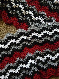 crochet blankets for men Ravelry: adamsaunt's Alabama Crimson Tide Blanket for Adam - Punto Zig Zag Crochet, Crochet Ripple, Crochet Afgans, Baby Blanket Crochet, Crochet Baby, Crochet Blankets, Crochet Home, Cute Crochet, Crochet Crafts