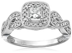14k White Gold Diamond Princess Halo Frame Engagement Ring (3/4cttw, H-I Color, I1-I2 Clarity), Size 7 * Click image to review more details.