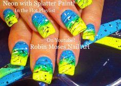 Nail Art Tutorial | DIY EASY SPLATTER PAINT NAILS | Neon Ombre Nail Design