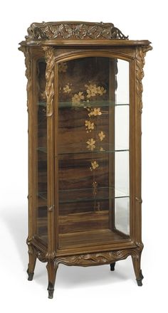 EMILE GALLÉ - PAPILLONS VITRINE, CIRCA 1900 burr-walnut, fruitwood and rosewood inlays, bronze gallery of butterflies to the upper-tier | Christie's