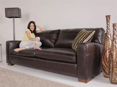 Furniture Village Dante 3 seater leather and leatherlux sofa - dante - gorgeous living