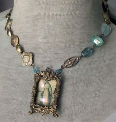 This week my jewelry features little 'windows' with vintage prayer card images peeking out from inside. There is som. Recycled Jewelry, Old Jewelry, Jewelry Art, Beaded Jewelry, Vintage Jewelry, Handmade Jewelry, Fashion Jewelry, Jewelry Design, Jewelry Making