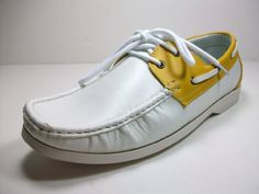 a2166b837b703 STOCK LIMITED price   24.95 Discount 69% Mens White Yellow Lace Up Boat  Shoes
