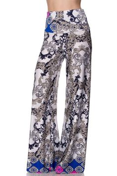 Unique Printed Palazzo Pants Banded High Waist or Fold Over Fabric: 92% Polyester, 8% Spandex Hemline made to cut to...