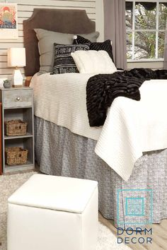 Dorm Decor offers a variety of dorm bedding, dorm storage, and dorm accessories that are perfect for the incoming college freshmen. Check out our website and start designing your dorm today! Dorm Rugs, Dorm Pillows, Dorm Room Bedding, College Dorm Bedding, College Dorm Rooms, Dorm Storage, Dorm Organization, Dorm Seating, Cute Dorm Ideas