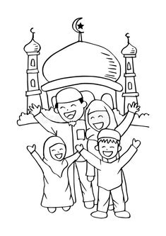 Illustration about Happy Muslim family at the mosque. Illustration of celebrate, design, arabian - Eid Crafts, Ramadan Crafts, Paper Crafts For Kids, Family Coloring Pages, Coloring Books, Decoraciones Ramadan, Islamic Posters, Islamic Cartoon, Islam For Kids