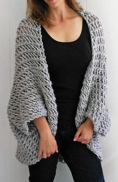 Free Knitting Pattern for Easy Cocoon Cardigan - Easy pattern knit in super bulky yarn. The designer Bo Peep's Bonnets says this is suitable for beginners.