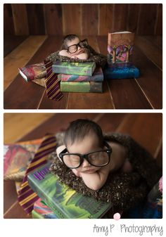 Newborn photos | Newborn Session | Newborn wearing Harry Potter themed glasses with Harry potter books | In studio session