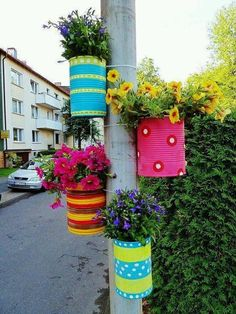 Decorated cans as planters