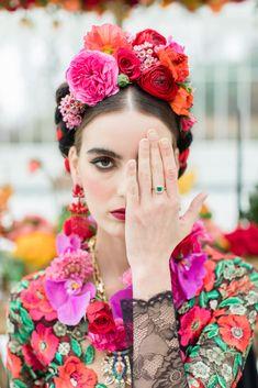 Inspired by Frida Kahlo colourful floral wedding editorial, dress by Joanne Fleming Design, photo by Roberta Facchini, Hair Kasia Fortuna, MUA Sylwia Kunysz colourfulwedding Wedding Headband, Fascinator Wedding, Flower Headpiece, Bridal Crown, Bridal Headpieces, Bridal Hair, Floral Hair, Floral Crown, Frida Kahlo Wedding