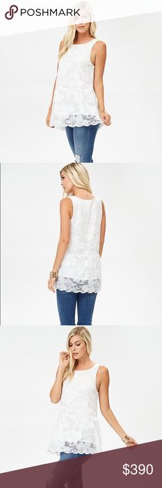"COMING 2/28  Ivory Sleeveless Lace Tunic Stunning sleeveless lace tunic top with a round neckline featuring a scalloped hem. Fully lined.  Model is 5'9"" and wearing a Small.  90% Nylon 10% Spandex 🌼 Please click on the icon of Buttercups and Daisies or caradock at the top of this listing to see more of my items for sale 🌼  💙 Remember to hit the Blue Follow button too! 💙 Tops Tunics"